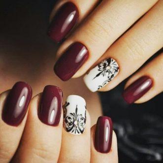 бордовые ногти