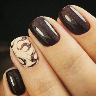 короткие ногти шоколад