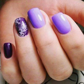 короткие ногти фиолетовый дизайн ногтей