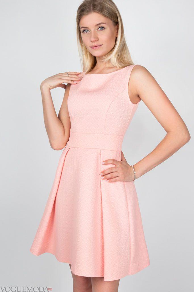 платье 2019 2020 розовое модное