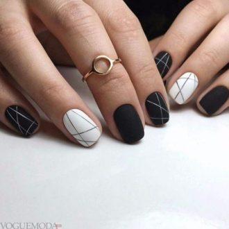 черно-белые ногти геометрические на короткие ногти