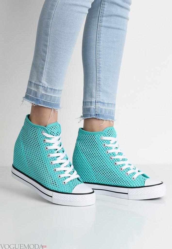 кроссовки голубые