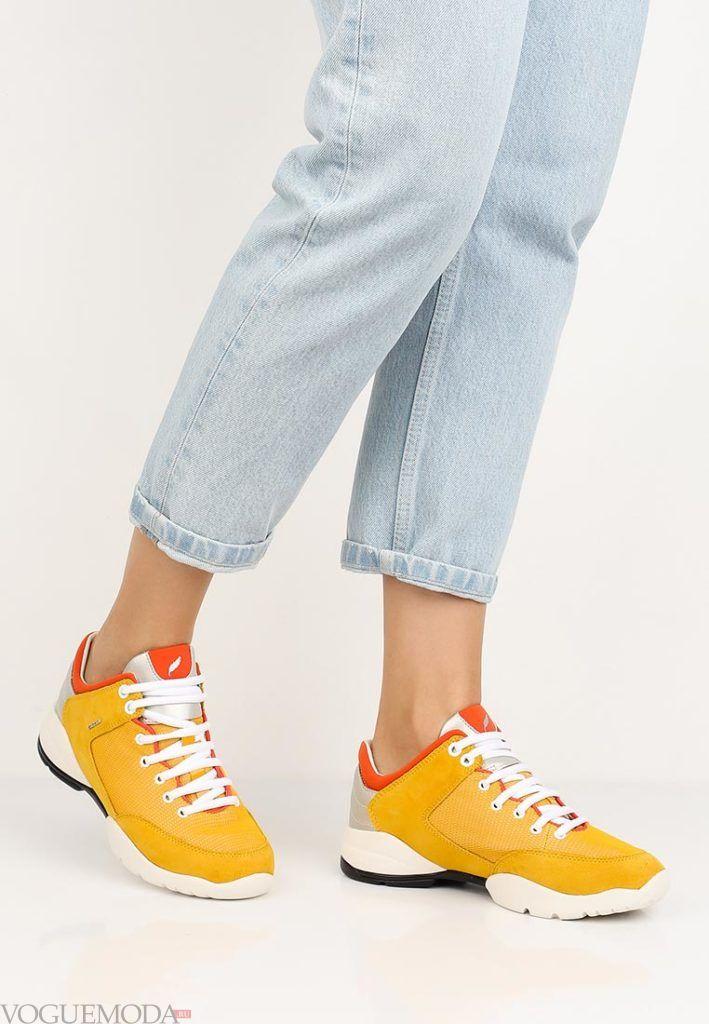 кроссовки жёлтые высокие