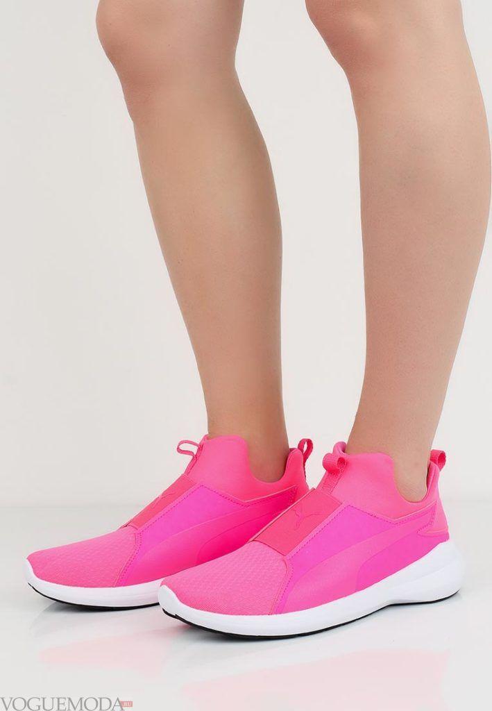 кроссовки высокие розовые