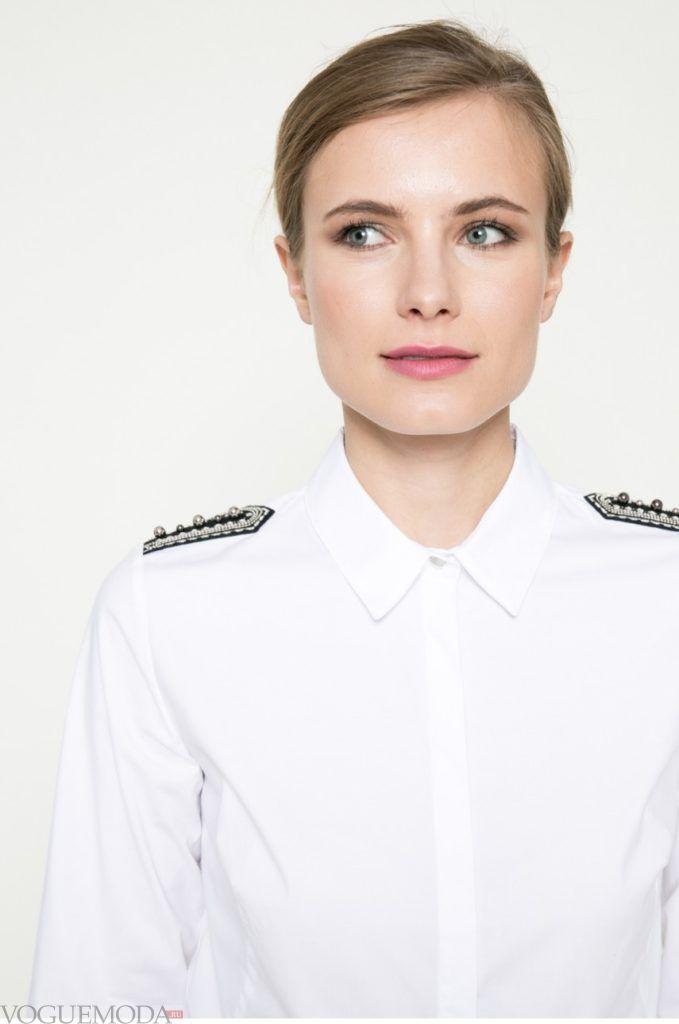 модная женская рубашка 2017 2018 с погонами