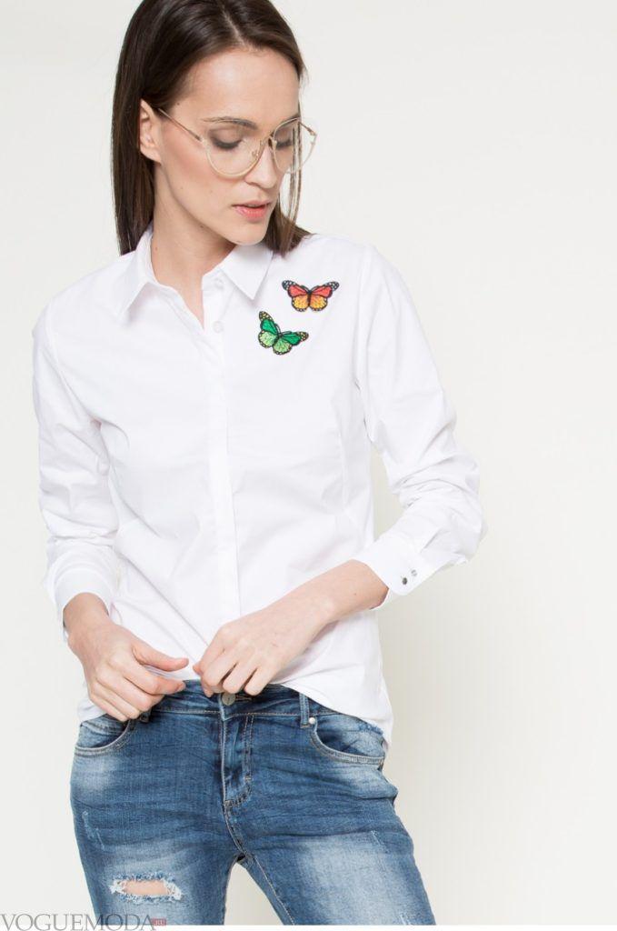 модная женская рубашка 2018 с бабочками