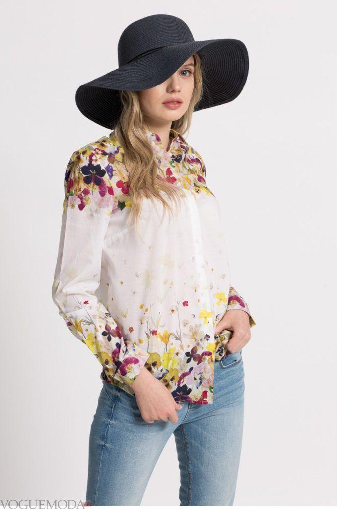 модная цветочная женская рубашка 2017 2018