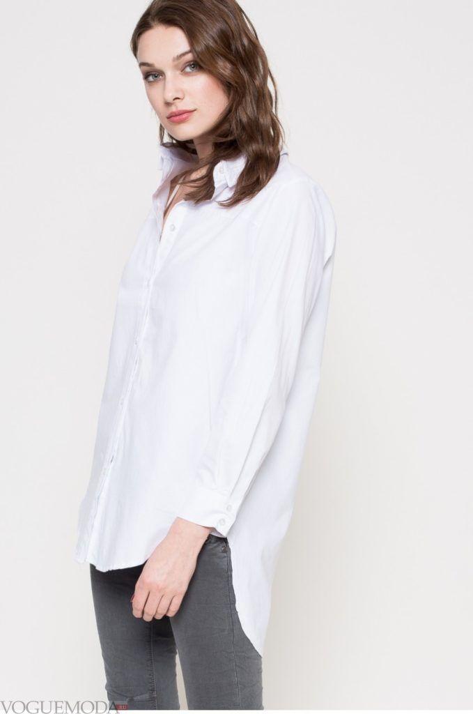 модная женская удлиненная рубашка