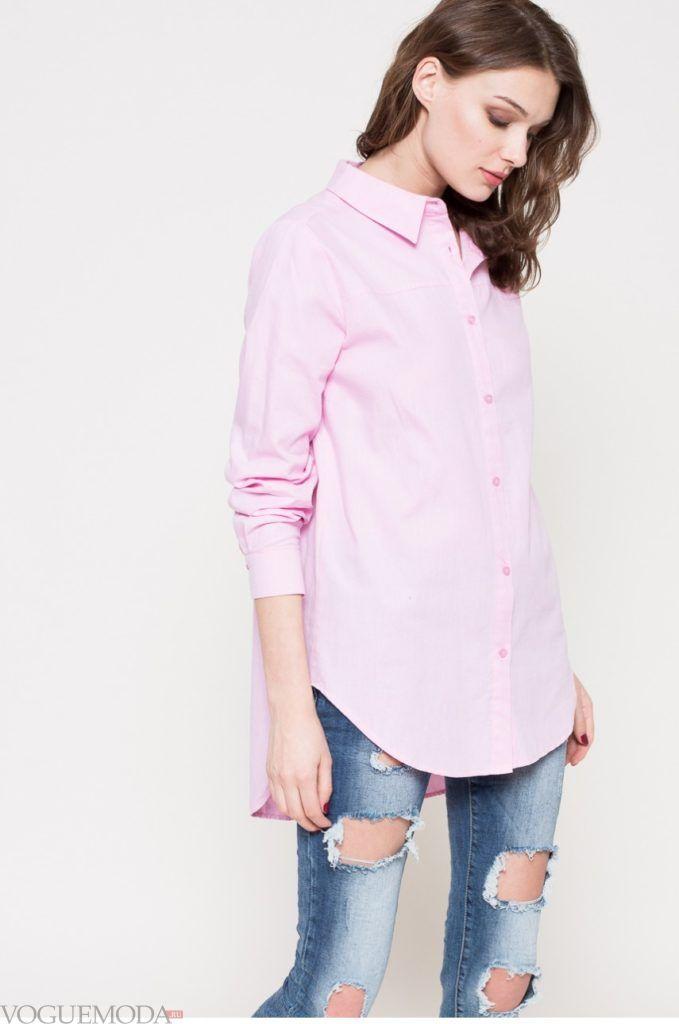 модная розовая женская рубашка 2018