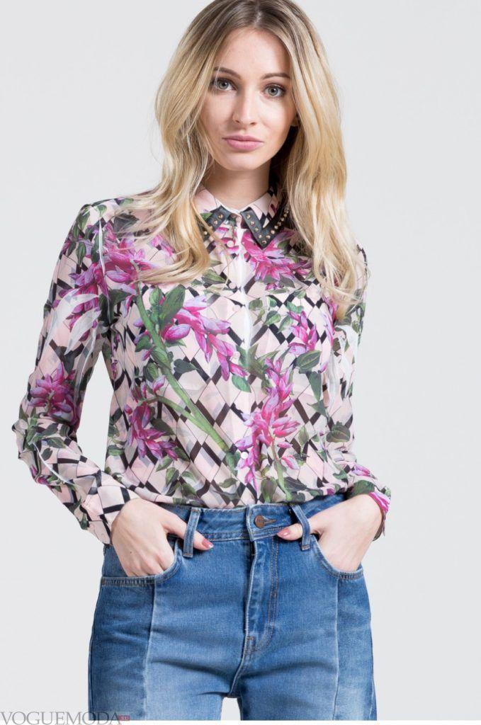 модная женская рубашка 2017 2018 с узором