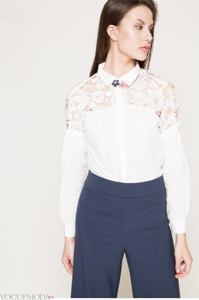 модная женская рубашка 2017 2018 белая кружевная