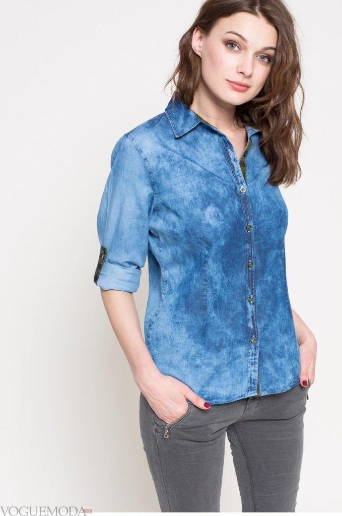 модная женская рубашка короткий рукав