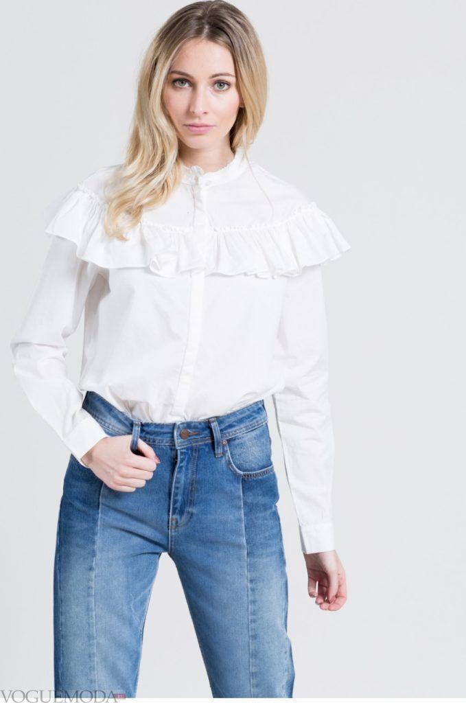 модная женская рубашка 2017 2018 с воланами