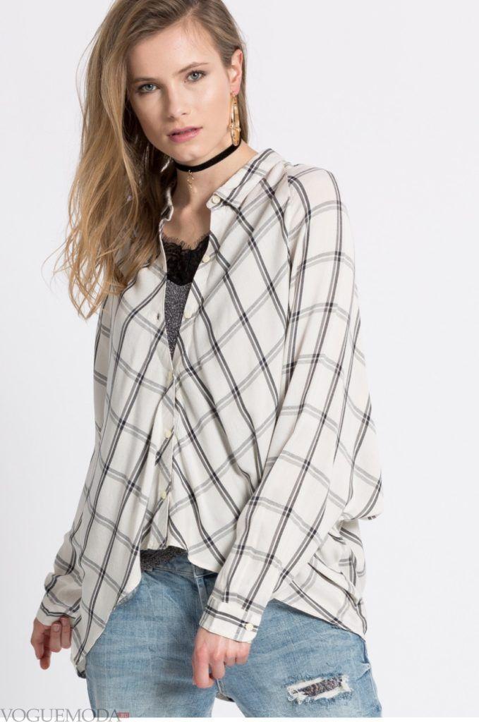модная женская рубашка в клеточку