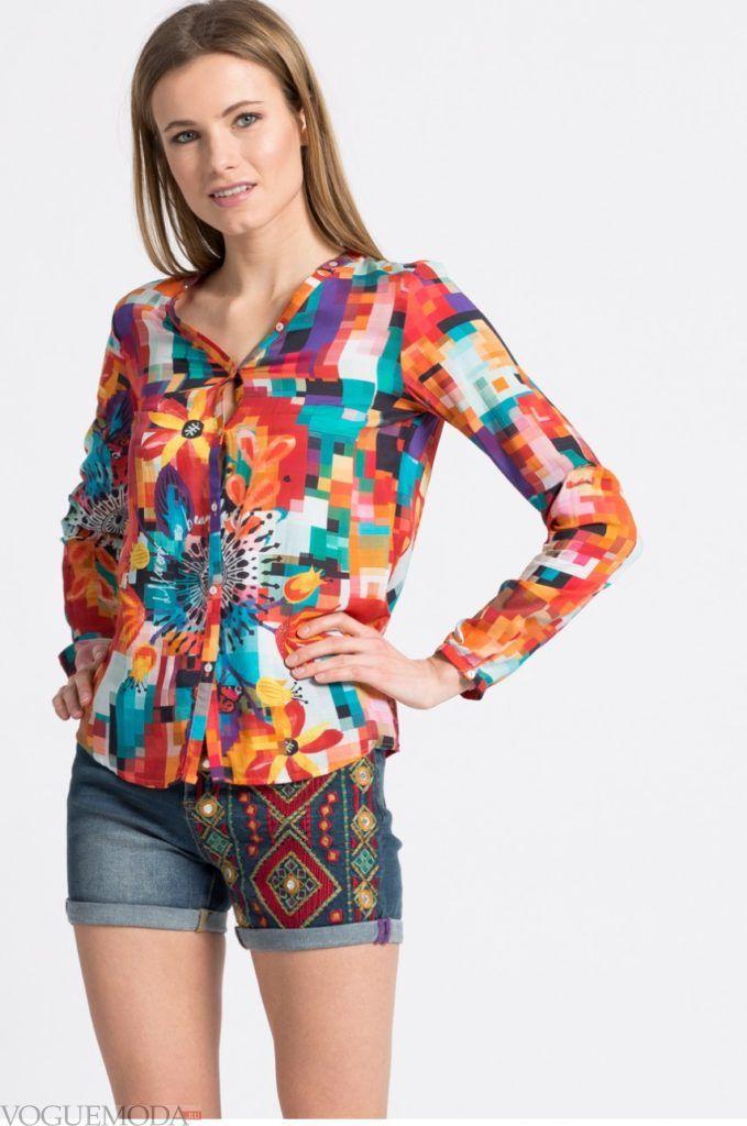 модная разноцветная женская рубашка