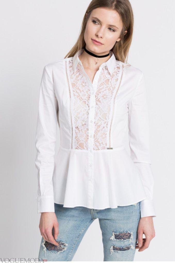 модная женская рубашка 2018 белая кружевная