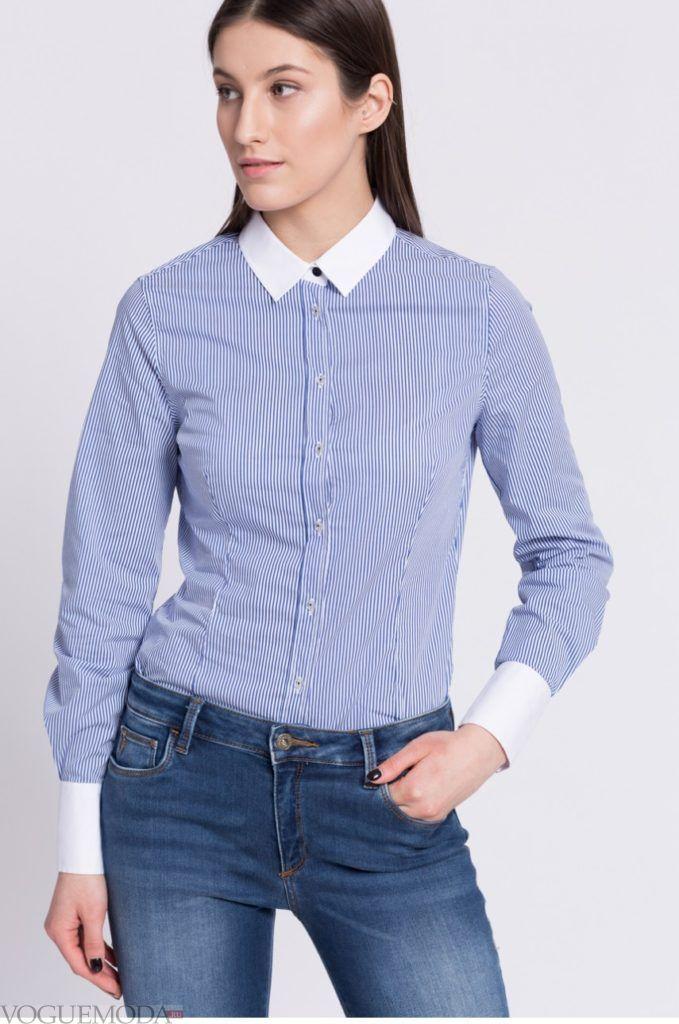 модная женская рубашка 2018 с манжетами