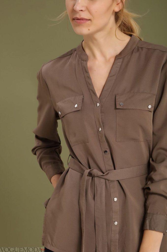 модная женская рубашка шоколад