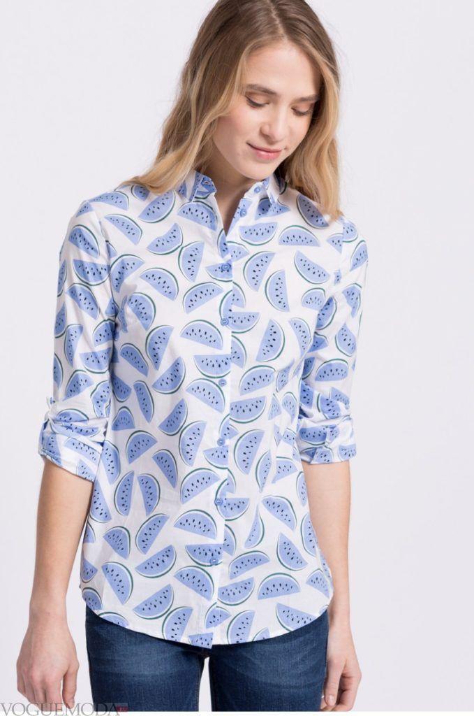 модная женская рубашка 2018 с арбузами