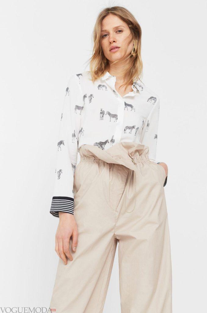 модная женская рубашка 2018 с зебрами