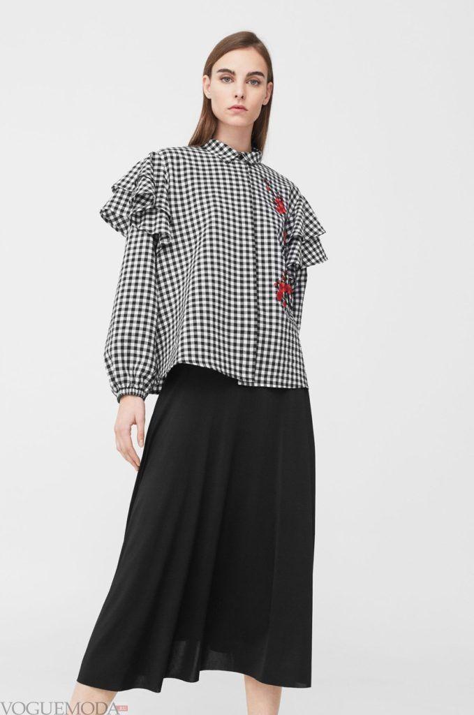 модная женская рубашка 2018 с рюшами