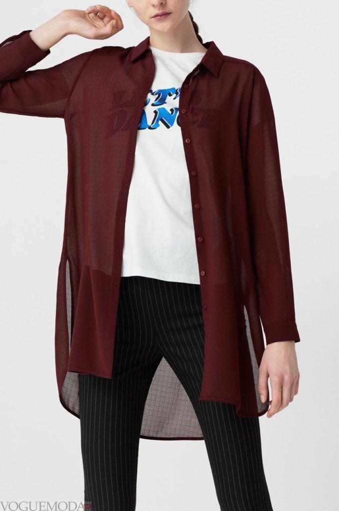 модная женская рубашка бордо
