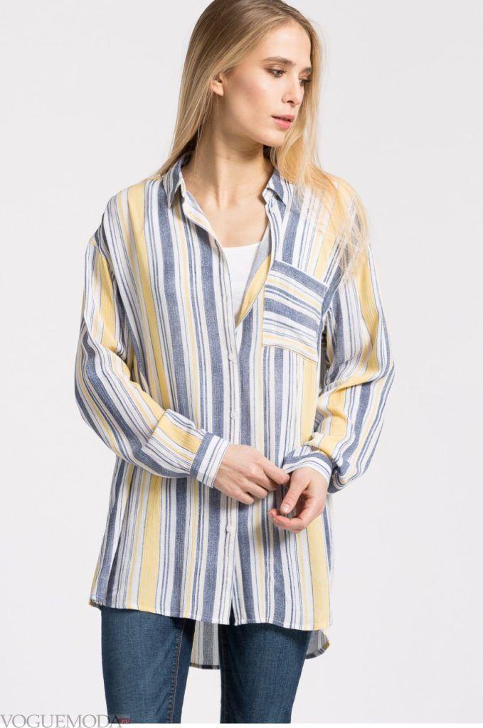 модная женская рубашка с полосками