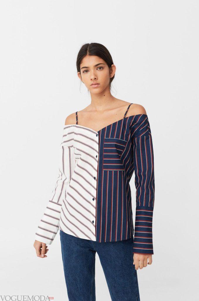 модная женская рубашка в полоску