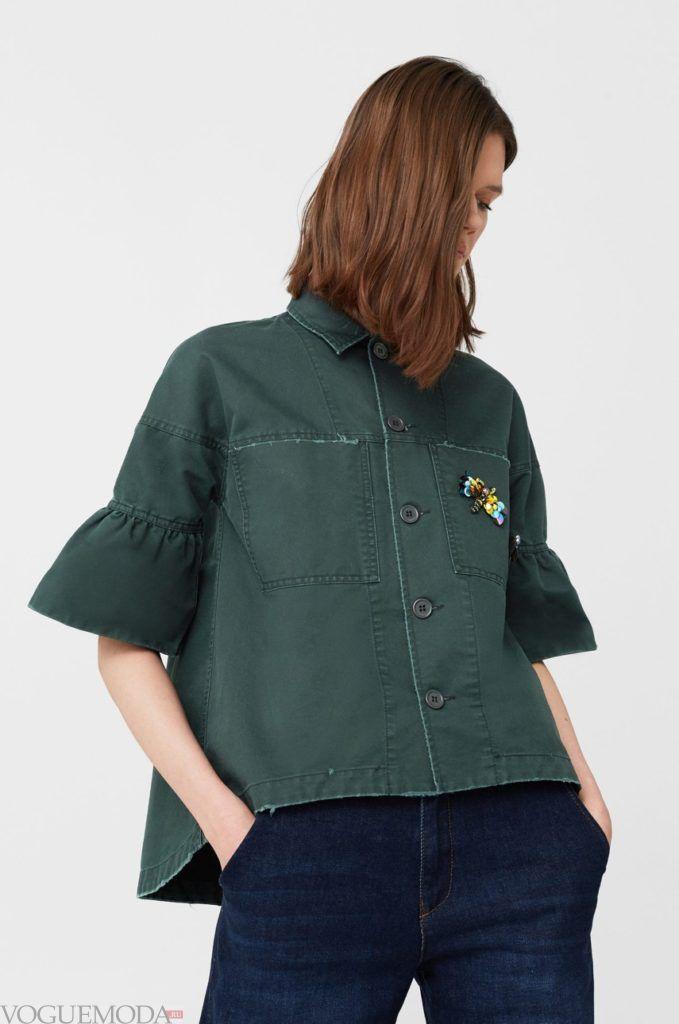 модная женская зелёная рубашка 2018