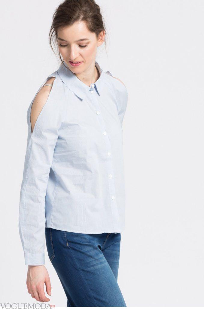 модная женская рубашка 2018 с разрезом