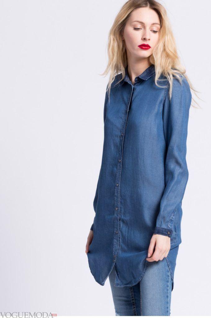 модная женская синяя рубашка