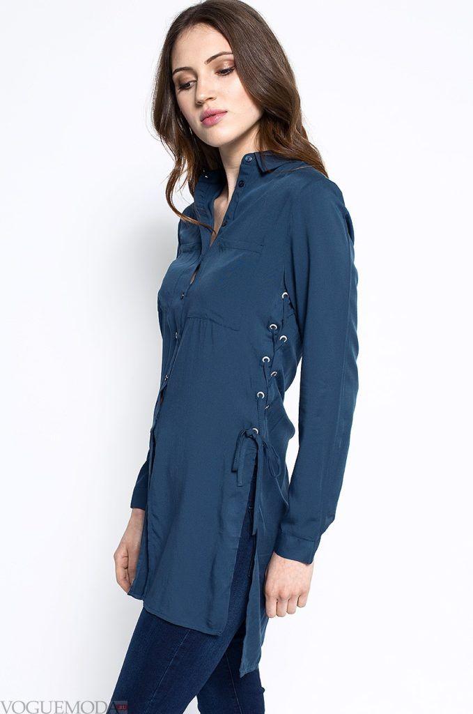 модная женская рубашка из шнурком