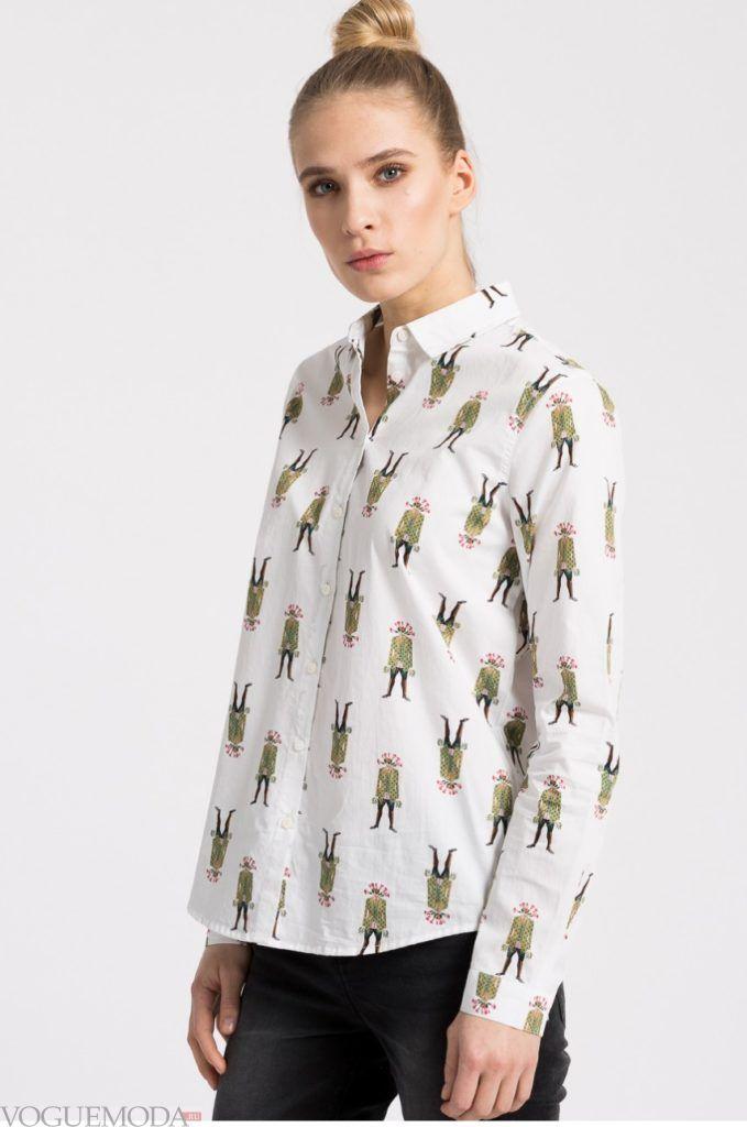 модная женская рубашка 2017 2018 в человечки