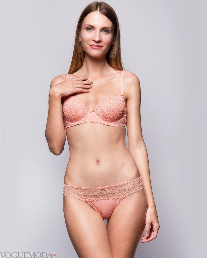 персиковый комплект нижнего белья