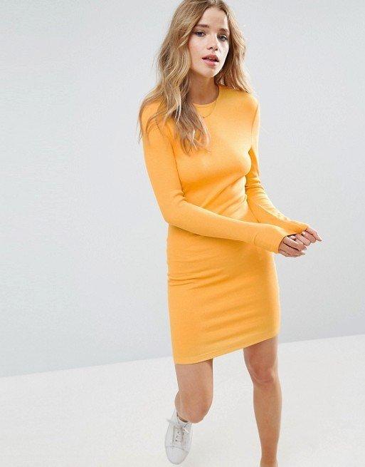 жёлтое каждодневное платье