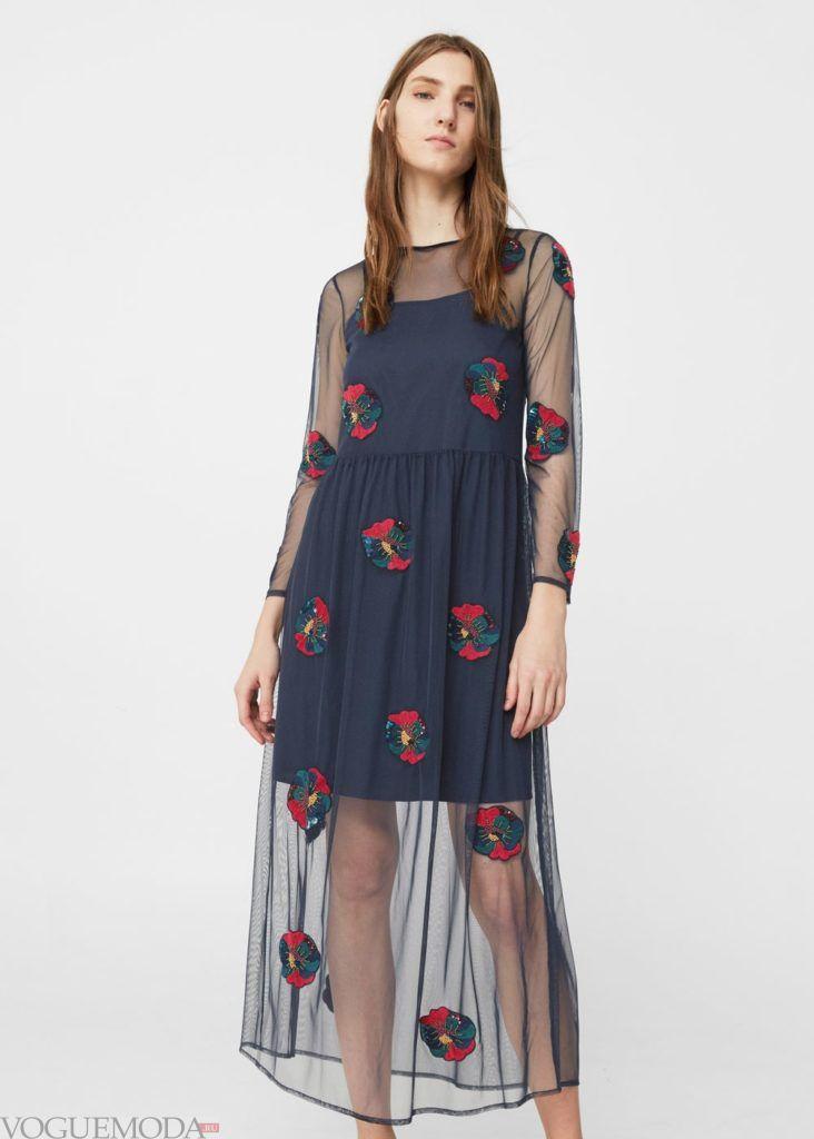 каждодневное платье синее в цветок