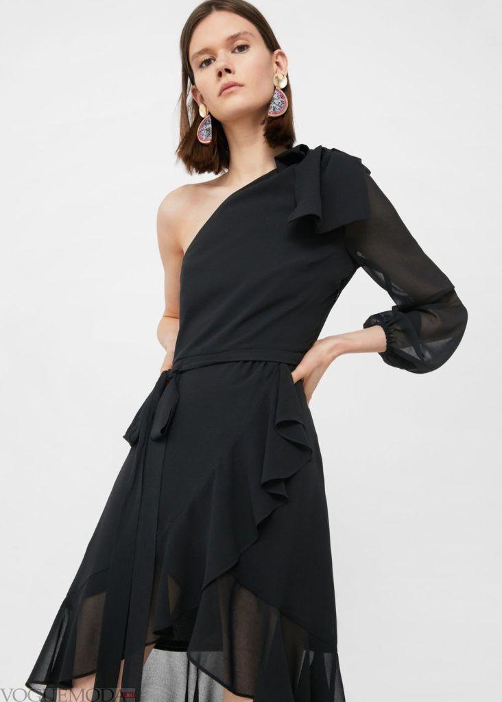каждодневное чёрное платье с рюшей