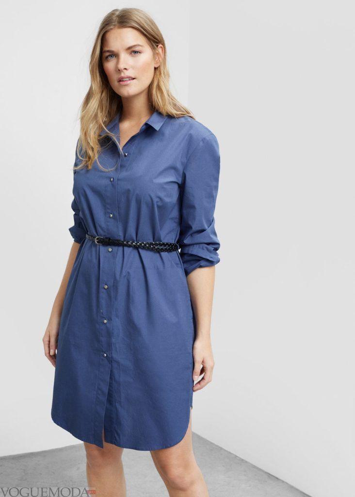 синее платье рубашка на каждый день