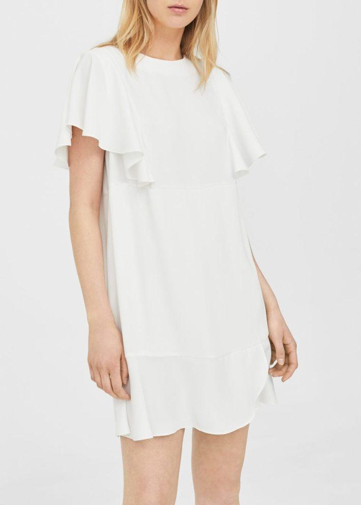 белое платье с рюшей на каждый день