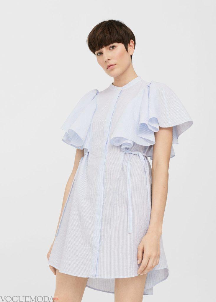 платье рубашка с рюшей на каждый день