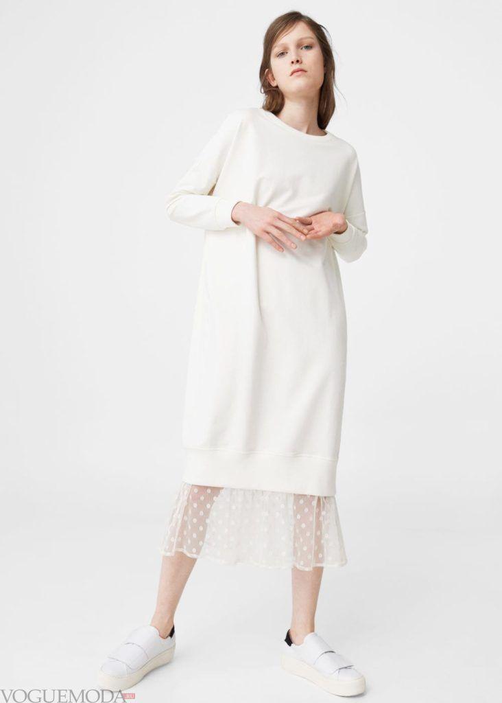 белое платье с рукавом на каждый день