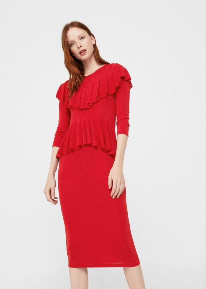 каждодневное платье красное с рукавом