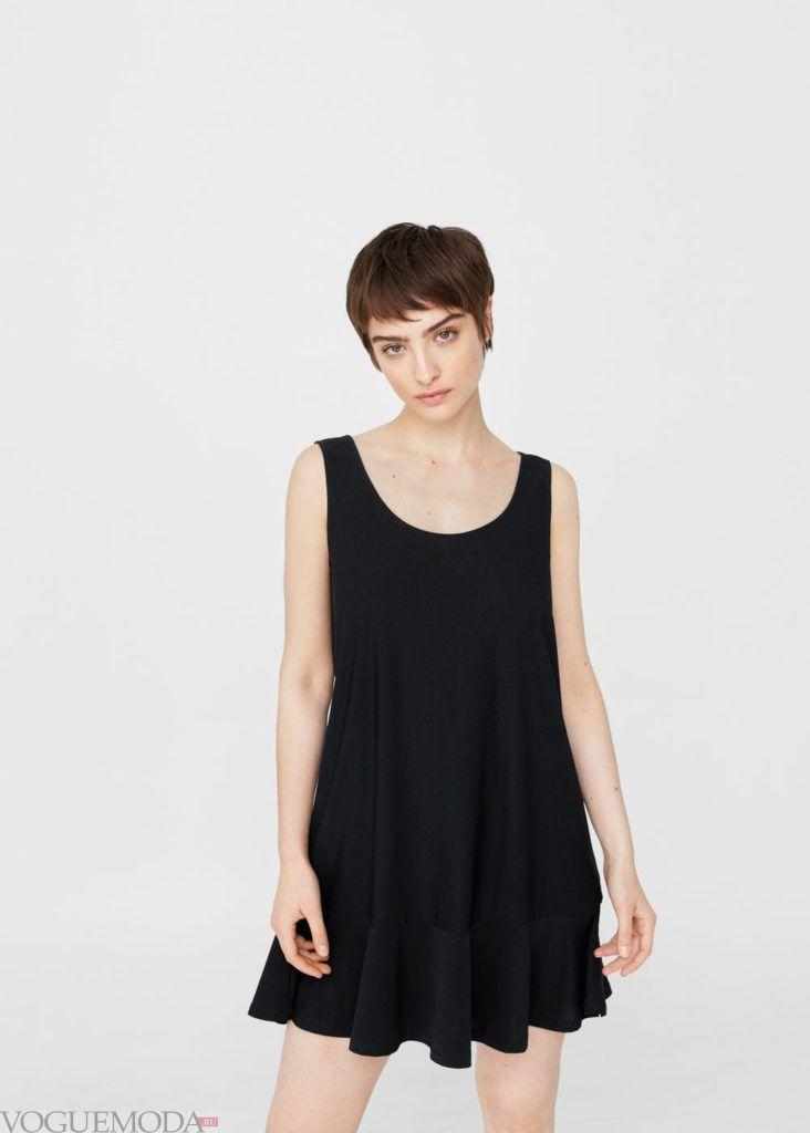 платье чёрное с рюшей 2019 2020 года