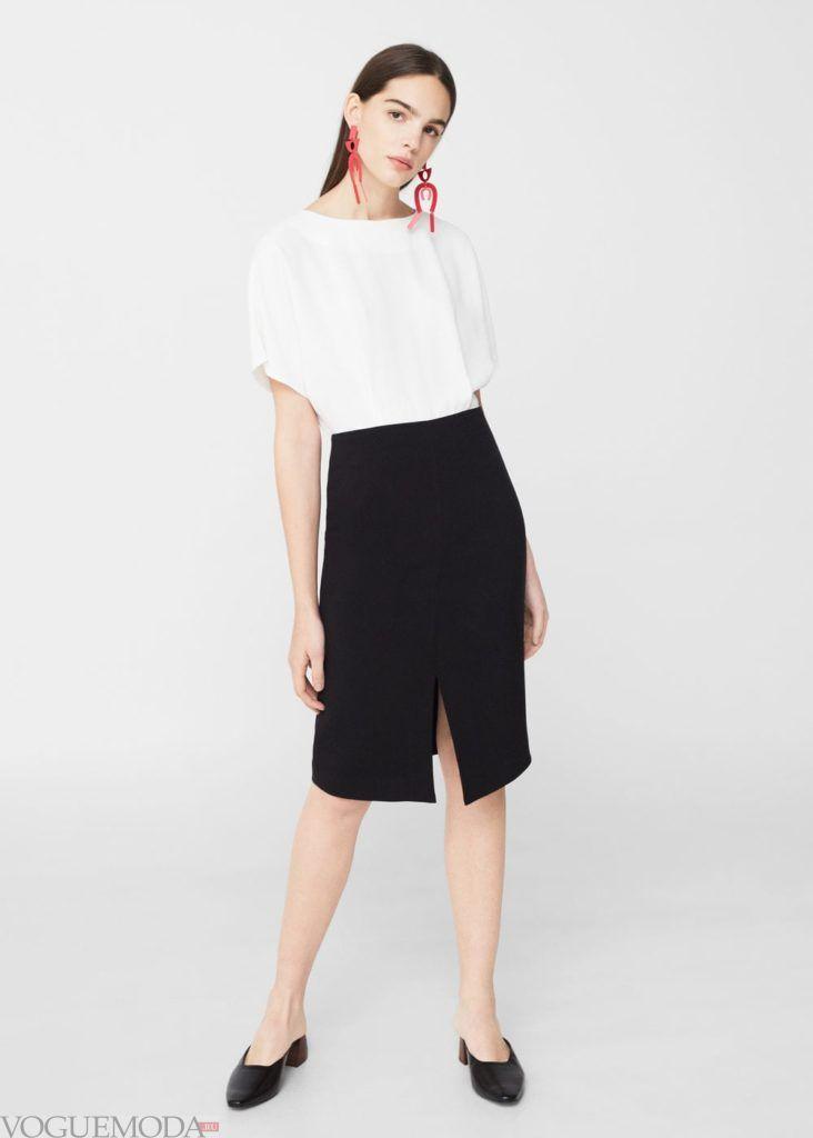 модное чёрно-белое платье 2019 2020