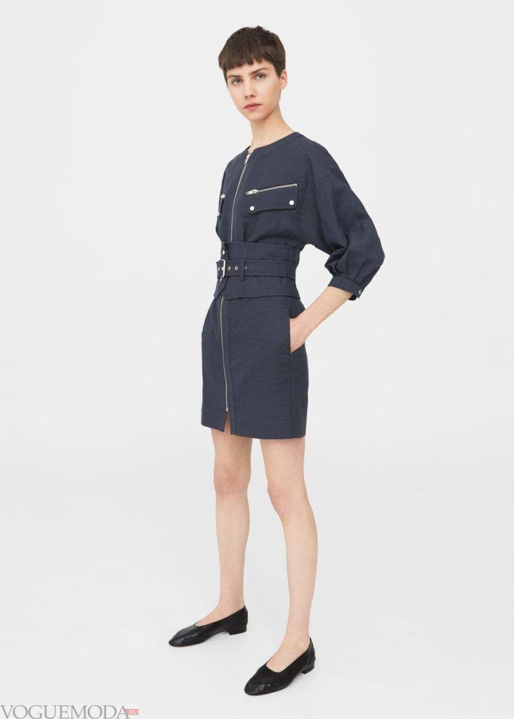 модное тёмно-синее платье 2019 2020