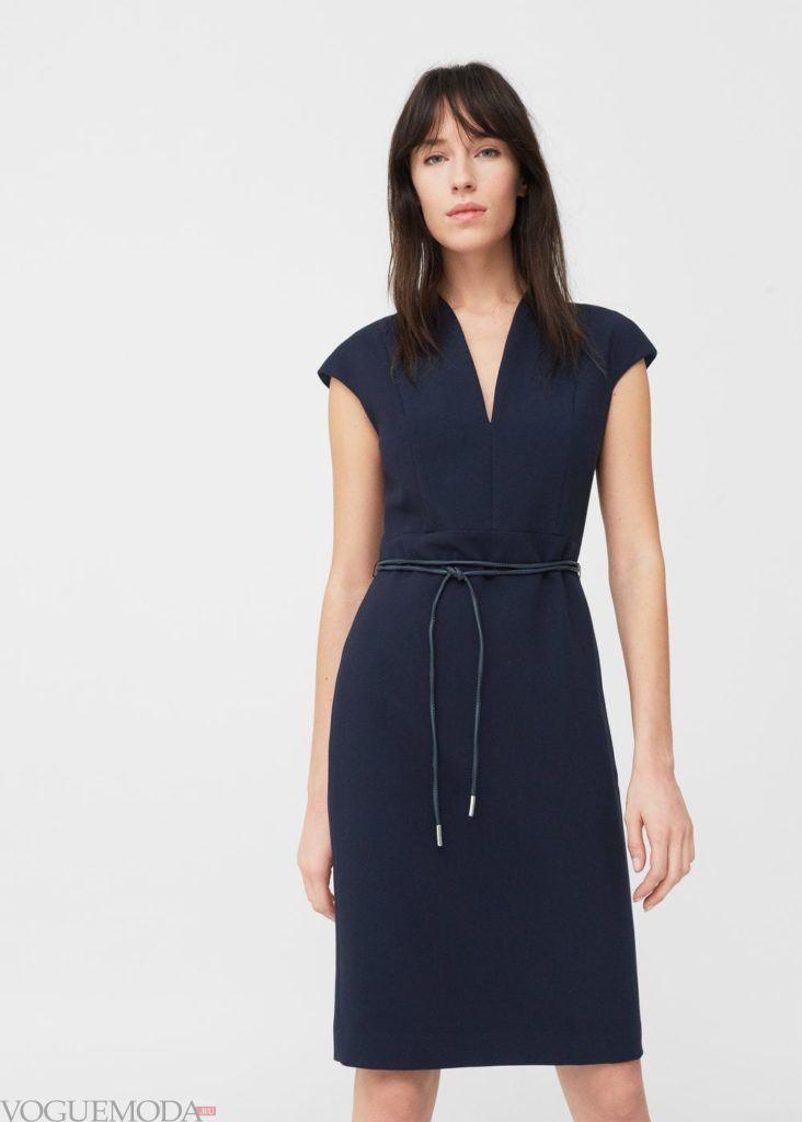 модное платье 2019 2020 офисное синее