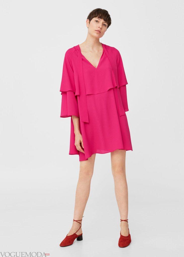 стильное розовое платье 2019 2020 с воланами