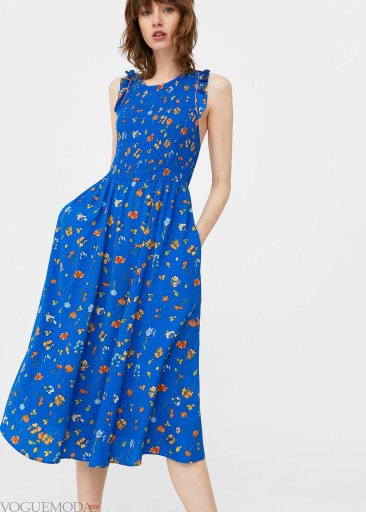 модное платье синее с принтом 2019 2020