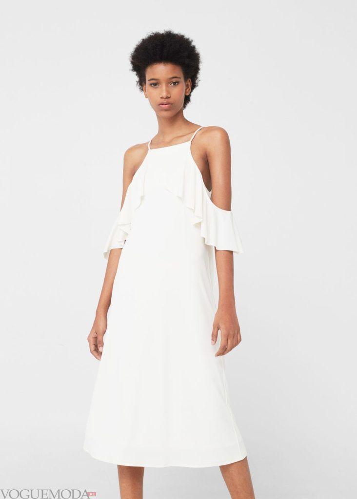 стильное платье 2019 2020 белое с воланами