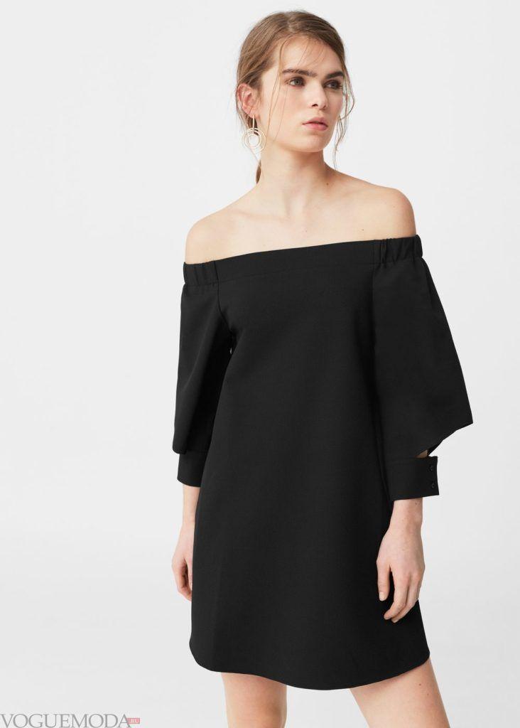 платье с открытыми плечами 2019 2020 года